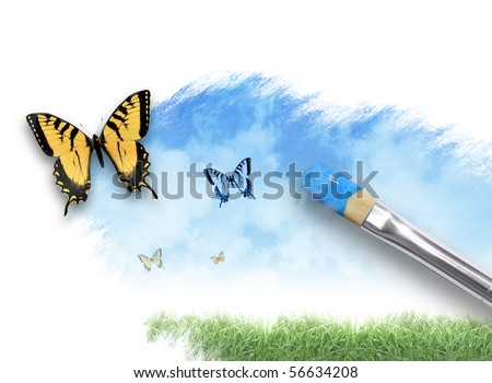 An artist paintbrush is painting a spring, summer nature scene on a white isolated background. There are butterflies coming out of the paint splatter. Use it for creative or imagination concept.