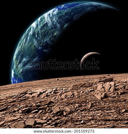 Stock Photo An artist's depiction of  an Earth like planet in deep space with an orbiting moon observed from the surface of a rocky sister moon.