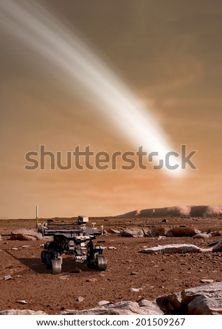 An artist's depiction of the close pass of comet C/2013 A1 over the Martian landscape. Also known as comet Siding Spring. It is scheduled for passage in 2014. Rover image courtesy of NASA.