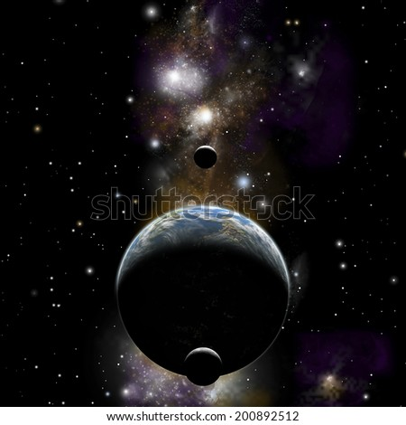 An artist's illustration of an earth type world with two moons against a background of nebula and stars.