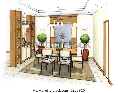 Interior Design Room on Artist S Simple Sketch Of An Interior Design Of A Dining Room  Design