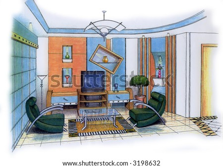 Minimalist Living Room on Design Of A Living Room  Design   Sketch By Submitter    Stock Photo
