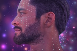 An artistic portrait of a man's profile digitally manipulated and modified on a colorful background