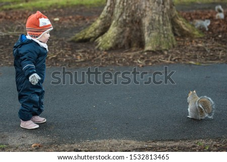 An Asian baby wearing a winter jumpsuit, gloves and a fox hat stands and stares at a brown squirrel as the animals eats near a tree In Princes Street Gardens, Edinburgh, Scotland, United Kingdom