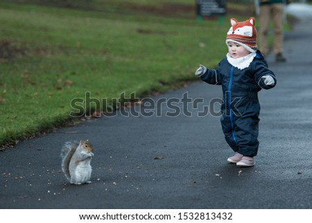 An Asian baby wearing winter clothes, mittens and a fox hat walks carefully towards a brown squirrel eating In Princes Street Gardens, Edinburgh, Scotland, UK