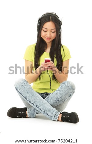 An asian college girl sitting with a mobile phone