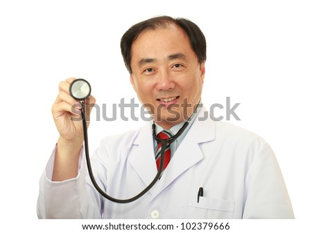 An asian doctor with a stethoscope, isolated on white