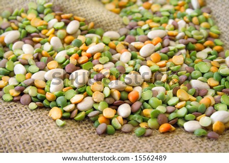 An assortment of beans for bean soup all on a burlap background.