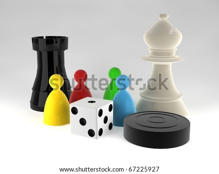 An assortment of boardgame pieces