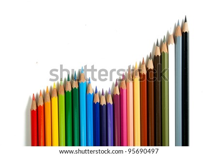 An assortment of color pencils on white background