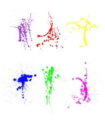 An assortment of colorful paint splatters.  Designers aren't constrained to these colors.  They can set the Photoshop paint brush to color mode and paint on any color to any splatter
