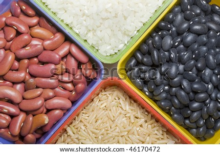 An assortment of dry beans and rice.