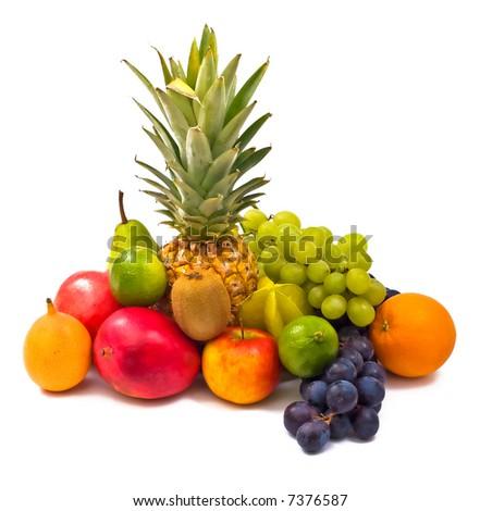 an assortment of fresh exotic fruits
