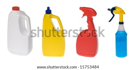An assortment of plastic cleaning solution bottles isolated against white.
