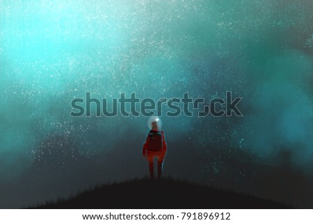 Stock Photo an astronaut standing on the top of mountain and looking to night sky, many stars in the fog, digital art illustration painting.