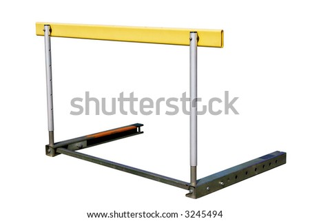 An athletics hurdle, isolated on a white background.