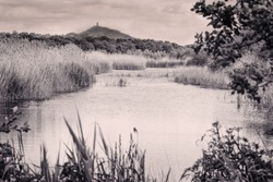 An atmospheric black and white image of Glastonbury Tor with the Avalon Marshes in the foreground.