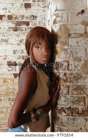 An attractive African-American female model.
