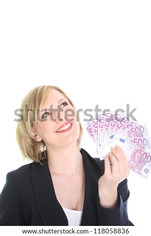 An attractive blonde woman considers how she might spend her handful of money