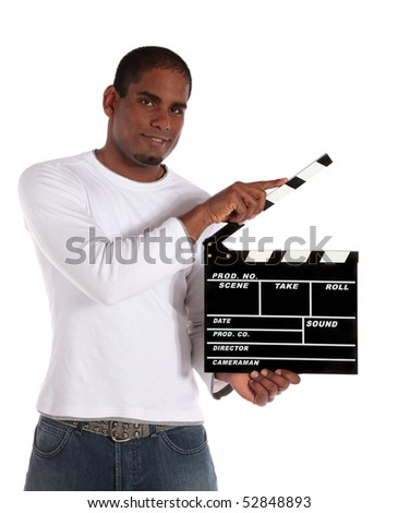 An attractive dark-skinned man using a clapperboard. All on white background.