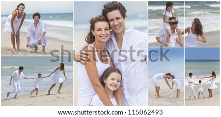 An attractive family of mother, father and daughter outside active at the beach having fun in summer sunshine, playing, smiling, laughing