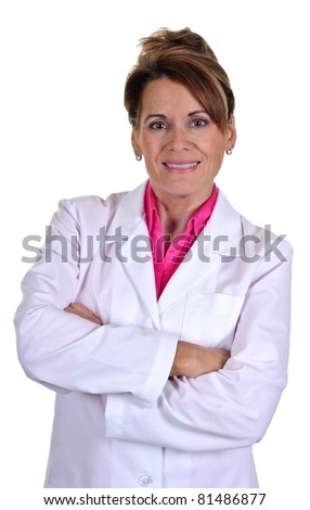 An Attractive Middle Aged Woman Wearing a Lab Coat