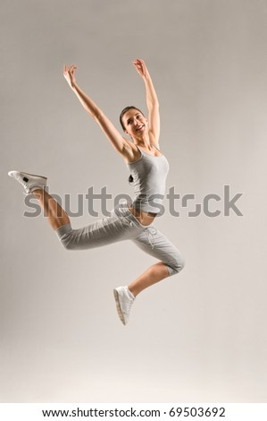 An Attractive pretty sexy jumping woman