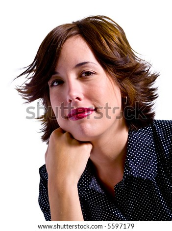An attractive young adult woman isolated on a white background.. #5597179