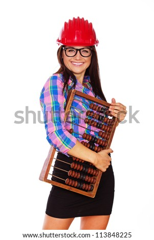 An attractive young girl is having fun in the studio