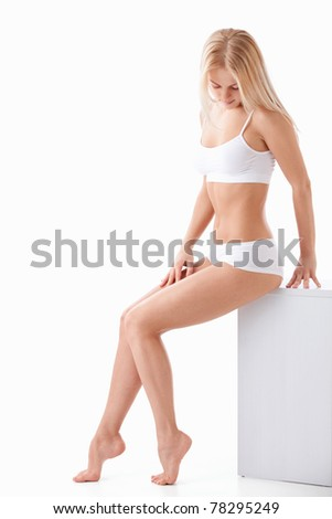 An attractive young woman on a white background