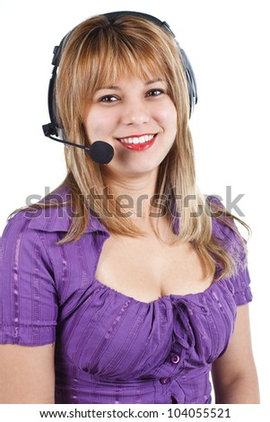 An attractive young woman with long blond hair, wearing a purple top, with headset, smiling into the camera - isolated on white