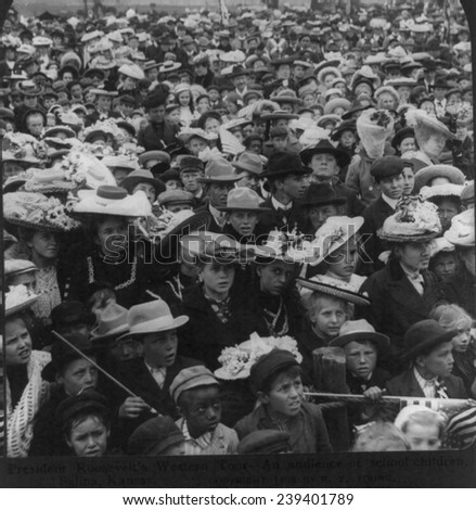 An audience of school children, their parents and teachers, Salina, Kansas. President Theodore Roosevelt's 1903 western tour.