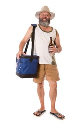An Aussie guy with a beer and an esky, wearing traditional thongs.