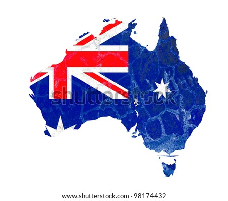 An Australia map flag bright painted on old grunge wall