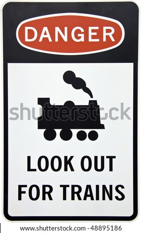 An Australian danger sign warning for trains with clipping path