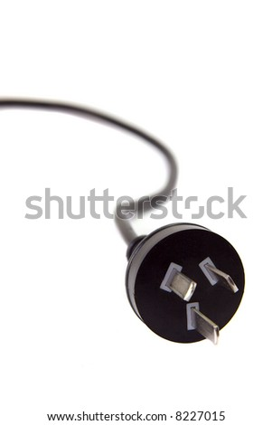 An Australian power lead on a white background.