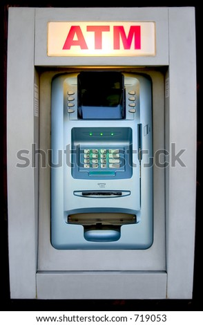 An automated teller machine is ready to provide cash.