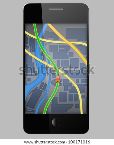 an automotive navigation system show on a smart-phone