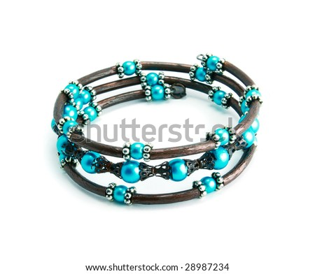 An azure bracelet isolated on a white background