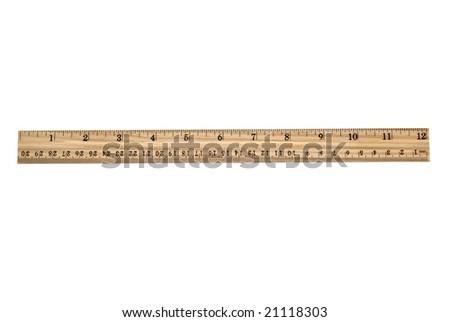 An brand new wooden ruler isolated on white.  Very clean and crisp.