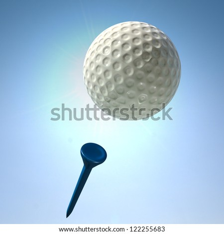 An closeup view of a regular golf ball in flight after being struck off a blue golf tee on a blue sky background