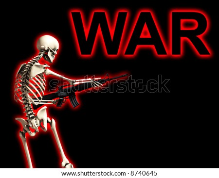 An conceptual image of a skeleton with a gun, it would be good to represent concepts of war.