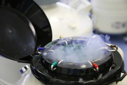 An  dewar with liquid nitrogen straws with frozenn embryos and egg cells  in a cryobank in infertility treatment clinic