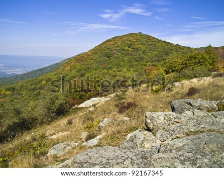 An early Autumn mountainside view in Shenandoah National Park in West Virginia.