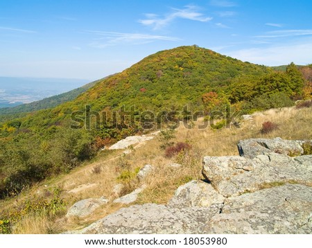 An early Autumn view from Skyline Drive in Shenandoah National park in West Virginia.