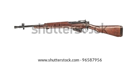 An early 1900 British Enfield antique rifle isolated on white
