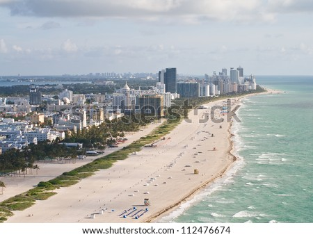 An early morning aerial view of Miami Beach, Florida.
