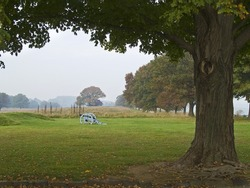 An early morning hazy view of Valley Forge National Historic Park in Pennsylvania.