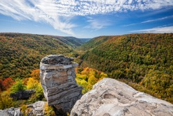 An early October afternoon view at the Lindy Point overlook of Blackwater Falls State Park in West Virginia.
