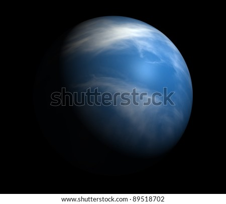 An Earth-like planet beyond our solar system. Isolated on black.
